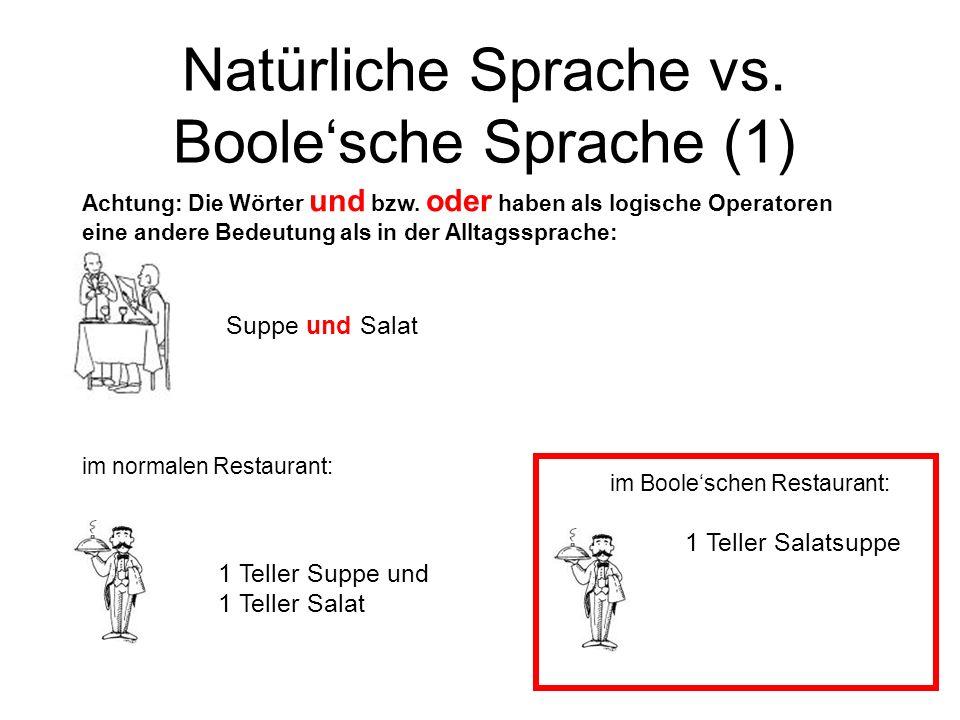 Natürliche Sprache vs. Boolesche Sprache (1) im Booleschen Restaurant: Suppe und Salat 1 Teller Suppe und 1 Teller Salat Achtung: Die Wörter und bzw.