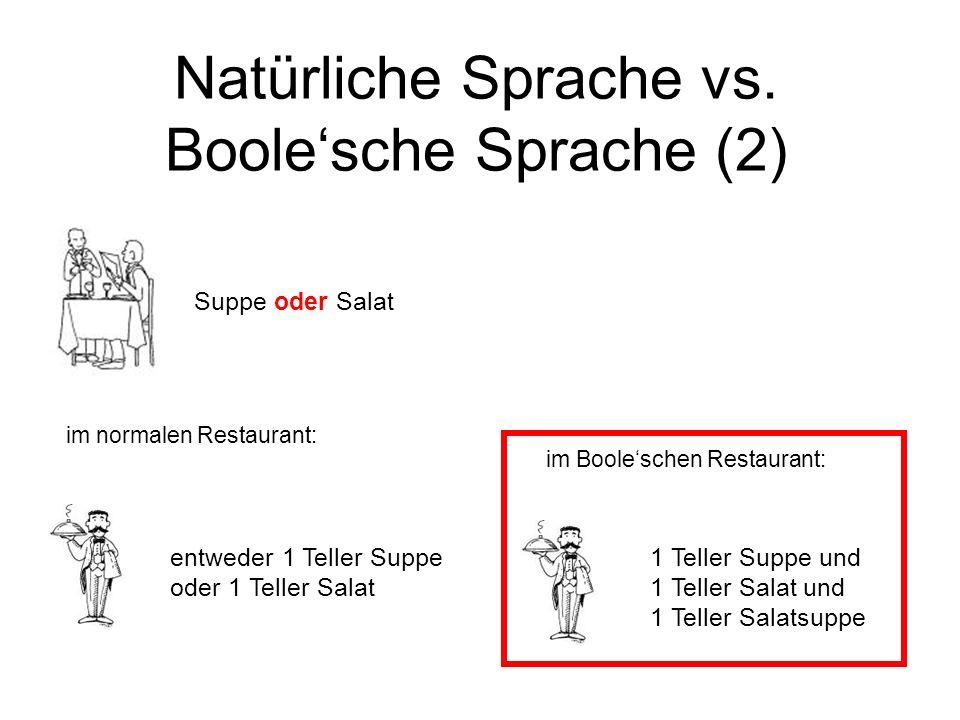 Natürliche Sprache vs. Boolesche Sprache (2) im Booleschen Restaurant: Suppe oder Salat entweder 1 Teller Suppe oder 1 Teller Salat 1 Teller Suppe und