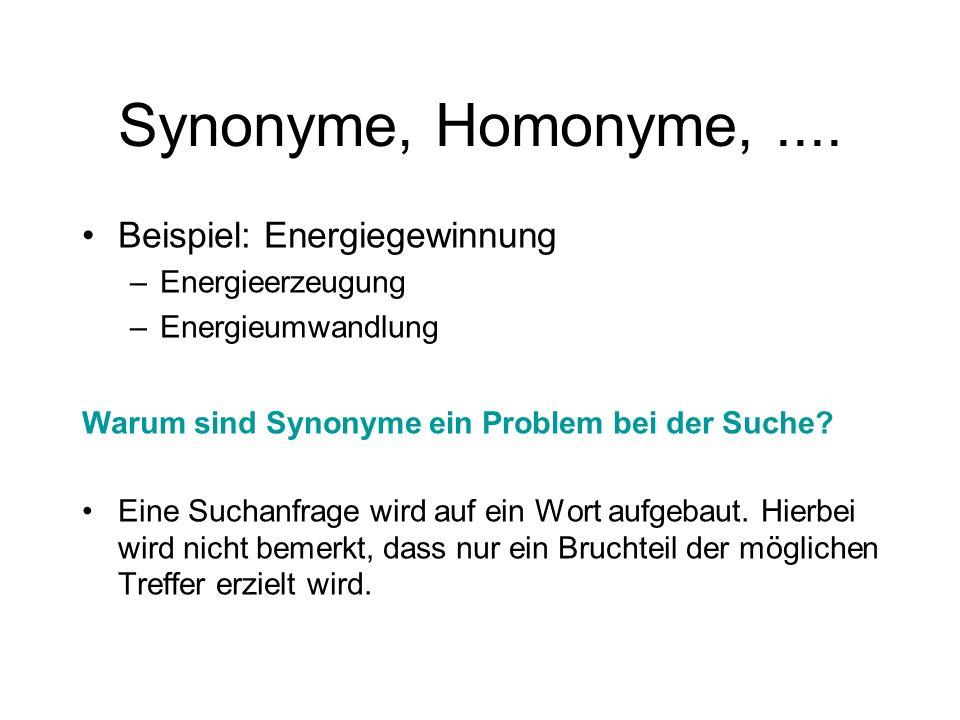 Synonyme, Homonyme,.... Beispiel: Energiegewinnung –Energieerzeugung –Energieumwandlung Warum sind Synonyme ein Problem bei der Suche? Eine Suchanfrag