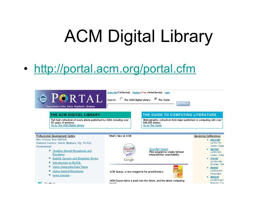 ACM Digital Library http://portal.acm.org/portal.cfm