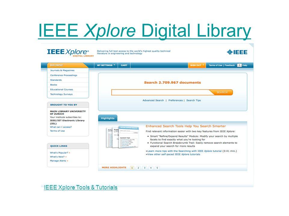 IEEE Xplore Digital Library IEEE Xplore Tools & Tutorials