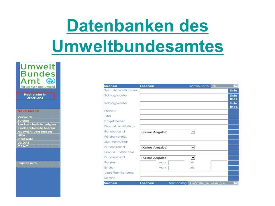 Datenbanken des Umweltbundesamtes