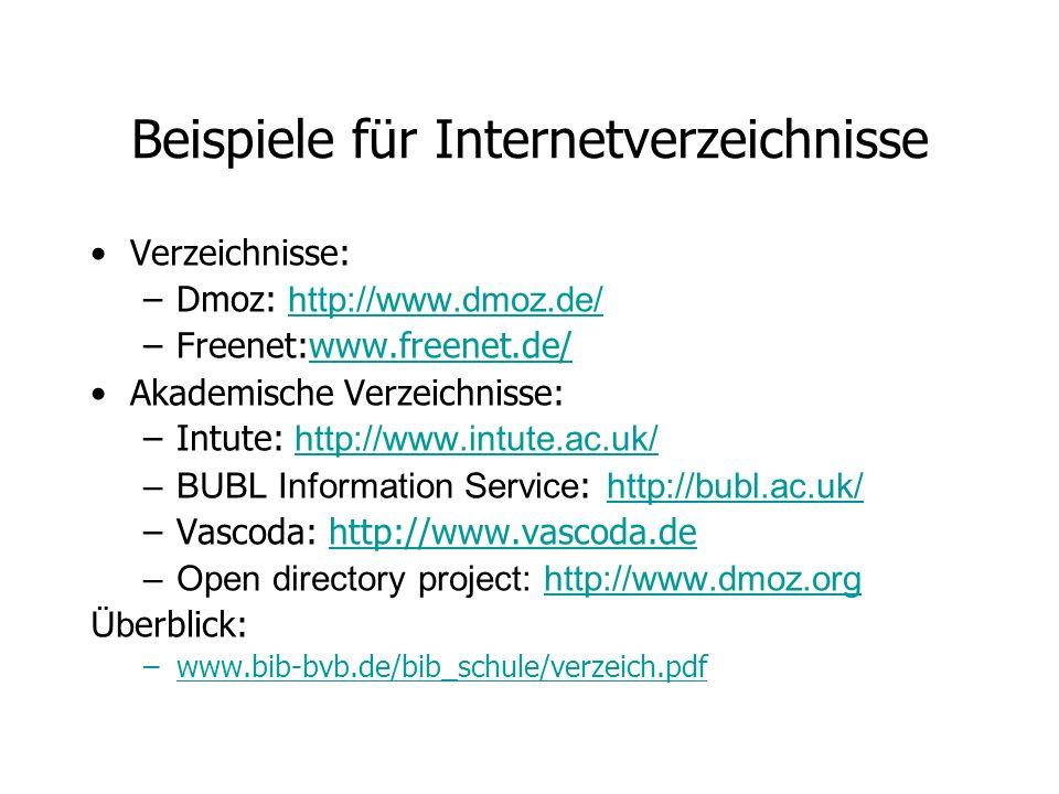 Beispiele für Internetverzeichnisse Verzeichnisse: –Dmoz: http://www.dmoz.de/ http://www.dmoz.de/ –Freenet:www.freenet.de/www.freenet.de/ Akademische