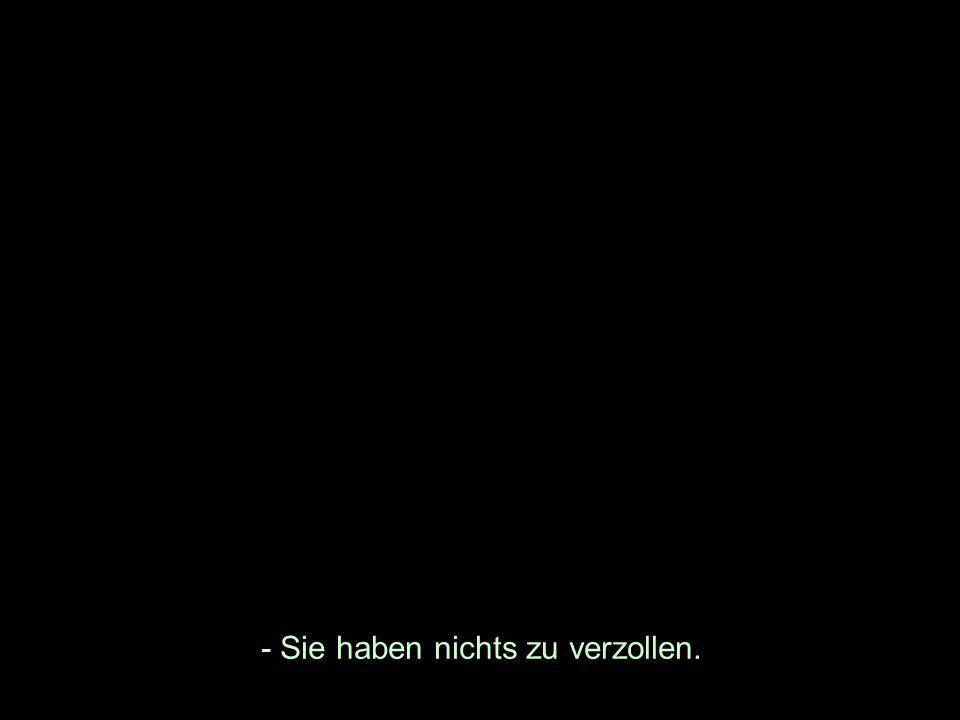 - Sie haben nichts zu verzollen.