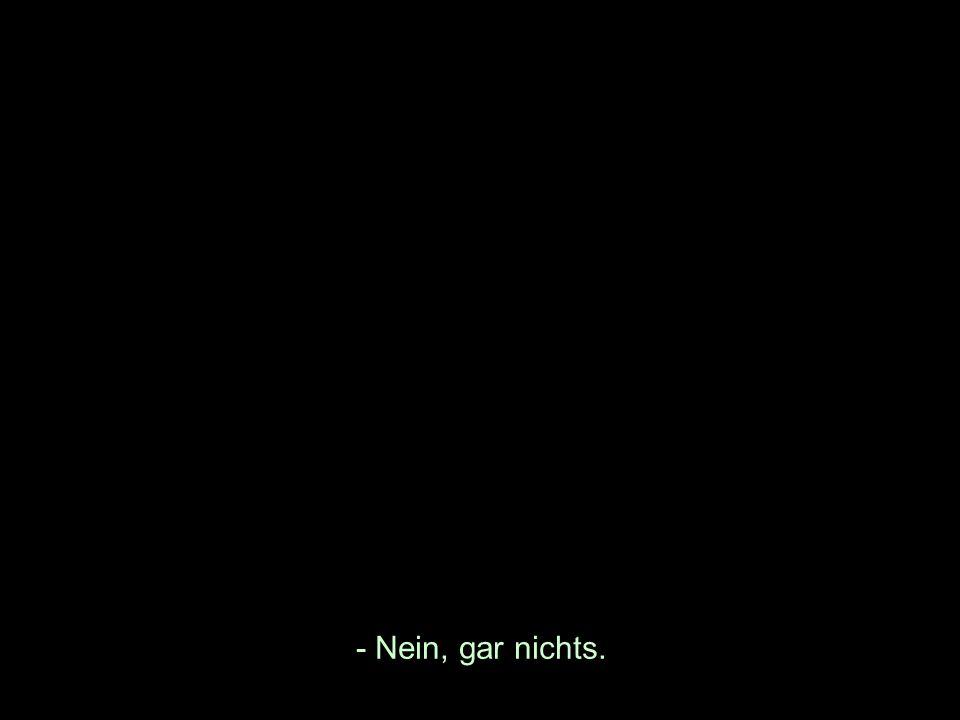 - Nein, gar nichts.