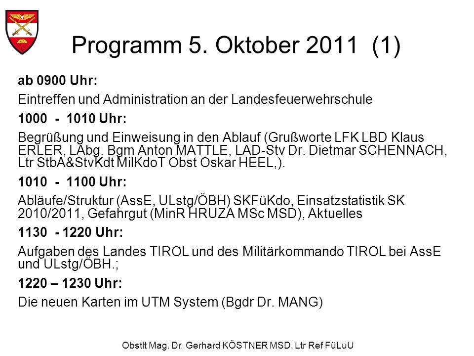 Obstlt Mag. Dr. Gerhard KÖSTNER MSD, Ltr Ref FüLuU Programm 5. Oktober 2011 (1) ab 0900 Uhr: Eintreffen und Administration an der Landesfeuerwehrschul