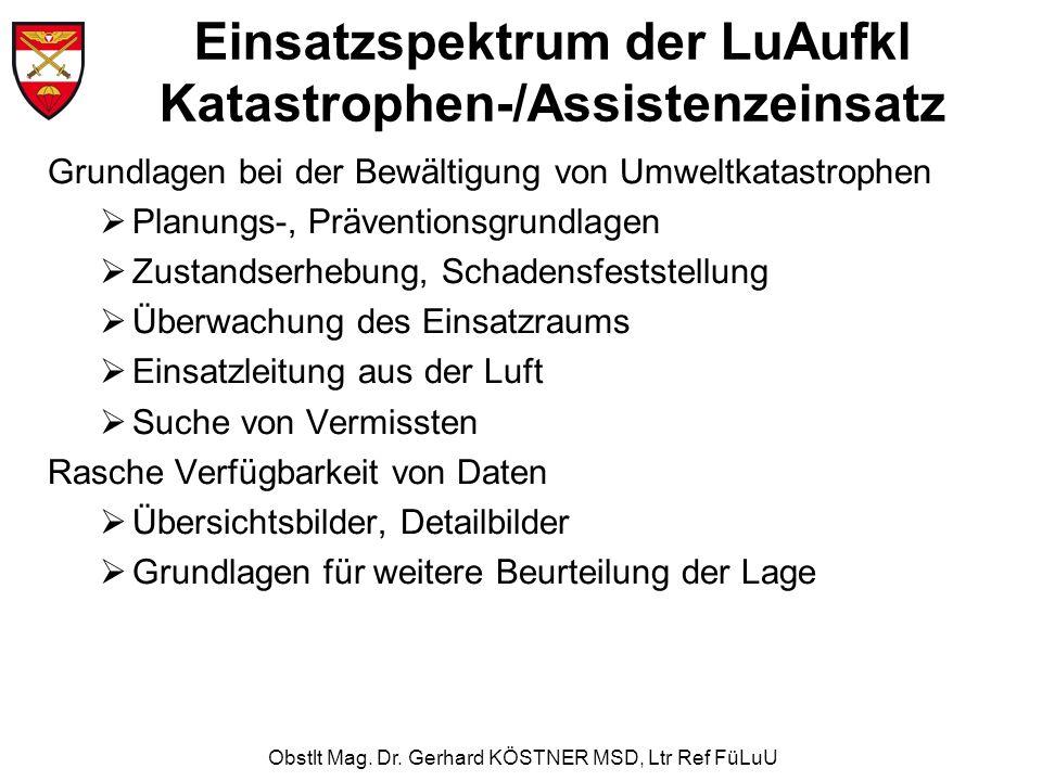 Obstlt Mag. Dr. Gerhard KÖSTNER MSD, Ltr Ref FüLuU Einsatzspektrum der LuAufkl Katastrophen-/Assistenzeinsatz Grundlagen bei der Bewältigung von Umwel