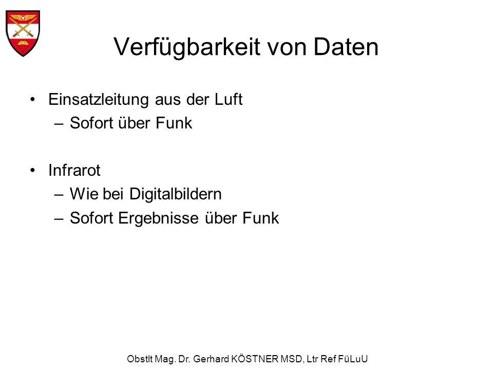 Obstlt Mag. Dr. Gerhard KÖSTNER MSD, Ltr Ref FüLuU Verfügbarkeit von Daten Einsatzleitung aus der Luft –Sofort über Funk Infrarot –Wie bei Digitalbild