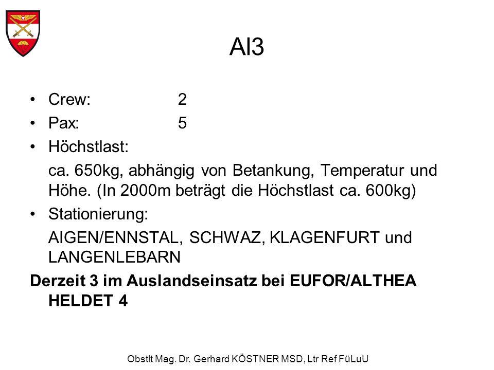 Obstlt Mag. Dr. Gerhard KÖSTNER MSD, Ltr Ref FüLuU Al3 Crew:2 Pax: 5 Höchstlast: ca. 650kg, abhängig von Betankung, Temperatur und Höhe. (In 2000m bet