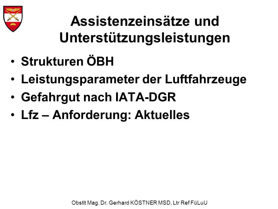 Obstlt Mag. Dr. Gerhard KÖSTNER MSD, Ltr Ref FüLuU Strukturen ÖBH Leistungsparameter der Luftfahrzeuge Gefahrgut nach IATA-DGR Lfz – Anforderung: Aktu