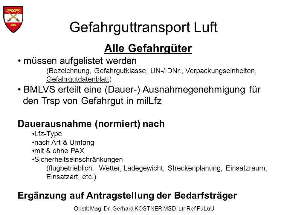 Obstlt Mag. Dr. Gerhard KÖSTNER MSD, Ltr Ref FüLuU Gefahrguttransport Luft Alle Gefahrgüter müssen aufgelistet werden (Bezeichnung, Gefahrgutklasse, U
