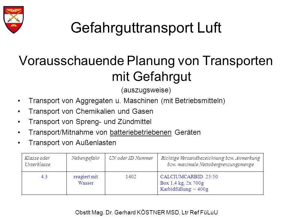 Obstlt Mag. Dr. Gerhard KÖSTNER MSD, Ltr Ref FüLuU Vorausschauende Planung von Transporten mit Gefahrgut (auszugsweise) Transport von Aggregaten u. Ma
