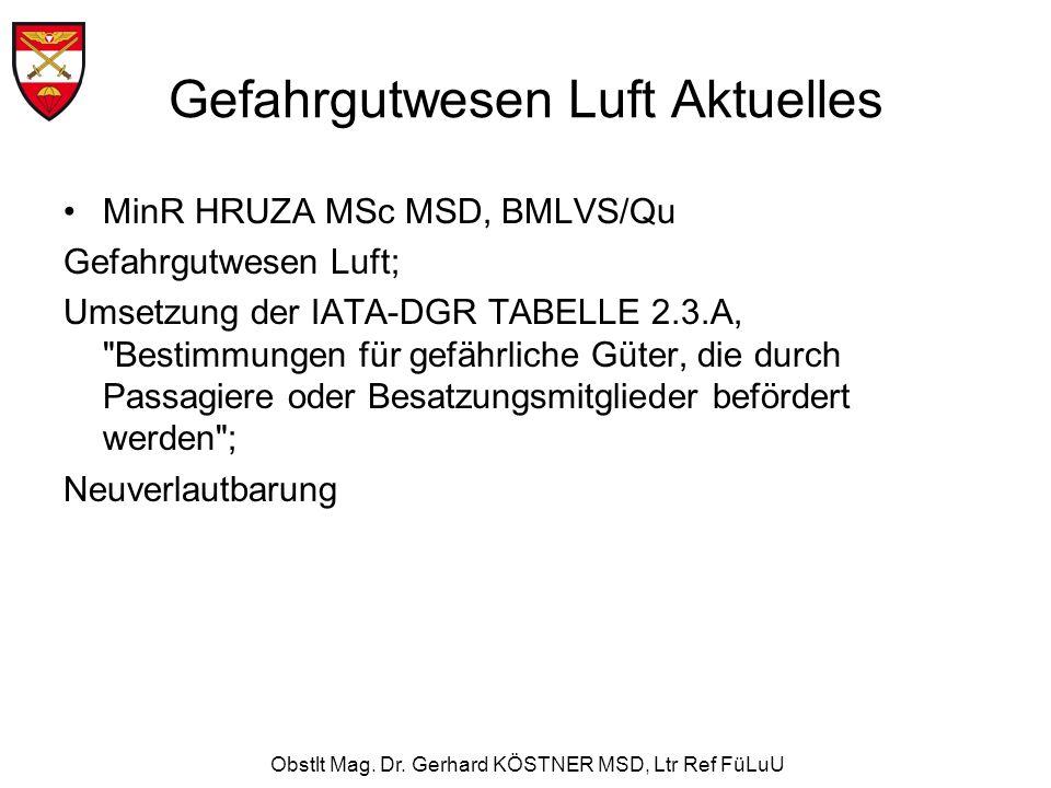 Obstlt Mag. Dr. Gerhard KÖSTNER MSD, Ltr Ref FüLuU Gefahrgutwesen Luft Aktuelles MinR HRUZA MSc MSD, BMLVS/Qu Gefahrgutwesen Luft; Umsetzung der IATA-