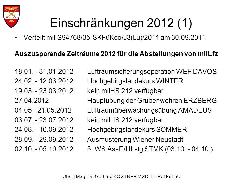 Obstlt Mag. Dr. Gerhard KÖSTNER MSD, Ltr Ref FüLuU Einschränkungen 2012 (1) Verteilt mit S94768/35-SKFüKdo/J3(Lu)/2011 am 30.09.2011 Auszusparende Zei