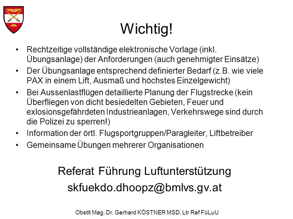 Obstlt Mag. Dr. Gerhard KÖSTNER MSD, Ltr Ref FüLuU Wichtig! Rechtzeitige vollständige elektronische Vorlage (inkl. Übungsanlage) der Anforderungen (au