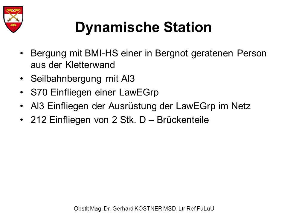 Obstlt Mag. Dr. Gerhard KÖSTNER MSD, Ltr Ref FüLuU Dynamische Station Bergung mit BMI-HS einer in Bergnot geratenen Person aus der Kletterwand Seilbah