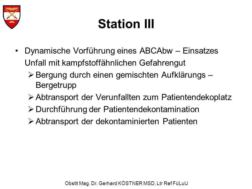 Obstlt Mag. Dr. Gerhard KÖSTNER MSD, Ltr Ref FüLuU Station III Dynamische Vorführung eines ABCAbw – Einsatzes Unfall mit kampfstoffähnlichen Gefahreng