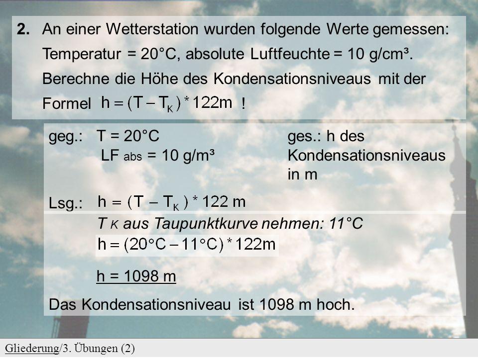 GliederungGliederung/3. Übungen (2) 2. An einer Wetterstation wurden folgende Werte gemessen: Temperatur = 20°C, absolute Luftfeuchte = 10 g/cm³. Bere