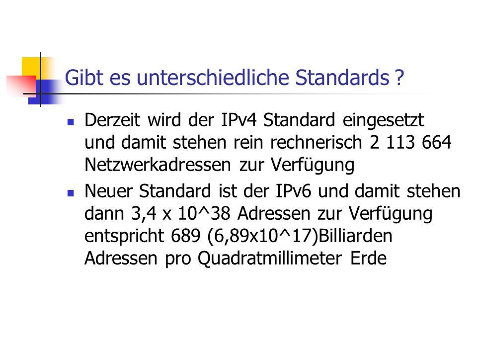 Gibt es unterschiedliche Standards ? Derzeit wird der IPv4 Standard eingesetzt und damit stehen rein rechnerisch 2 113 664 Netzwerkadressen zur Verfüg