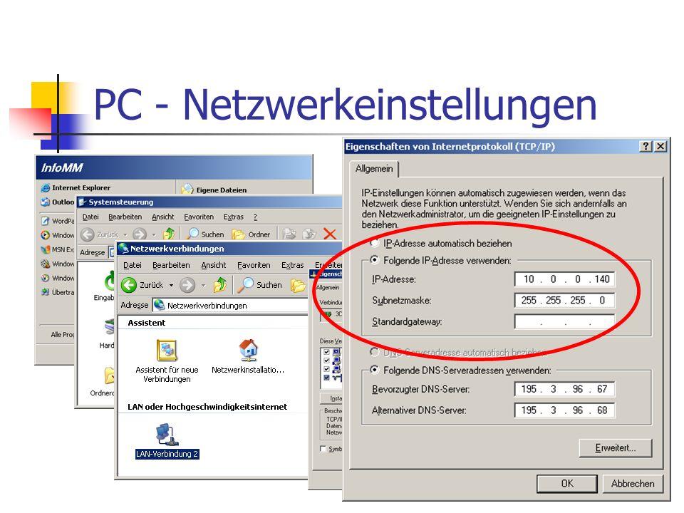 PC - Netzwerkeinstellungen