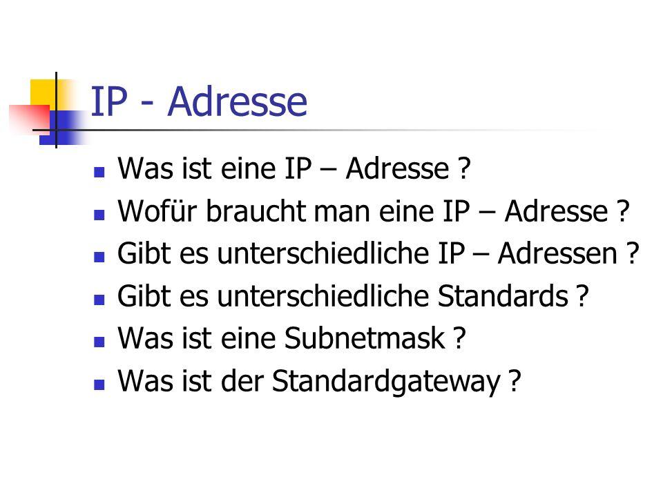IP - Adresse Was ist eine IP – Adresse ? Wofür braucht man eine IP – Adresse ? Gibt es unterschiedliche IP – Adressen ? Gibt es unterschiedliche Stand
