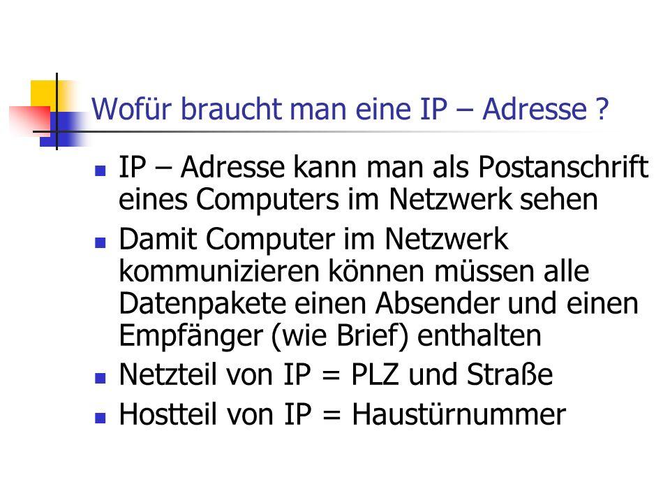 Wofür braucht man eine IP – Adresse ? IP – Adresse kann man als Postanschrift eines Computers im Netzwerk sehen Damit Computer im Netzwerk kommunizier