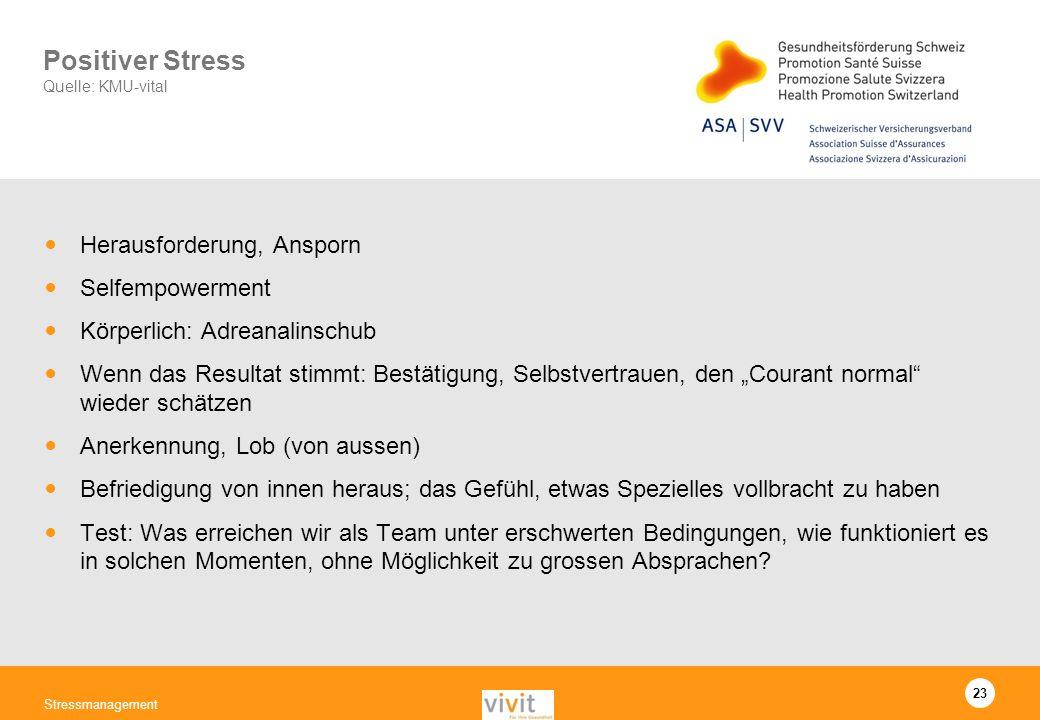 23 Stressmanagement Positiver Stress Quelle: KMU-vital Herausforderung, Ansporn Selfempowerment Körperlich: Adreanalinschub Wenn das Resultat stimmt: