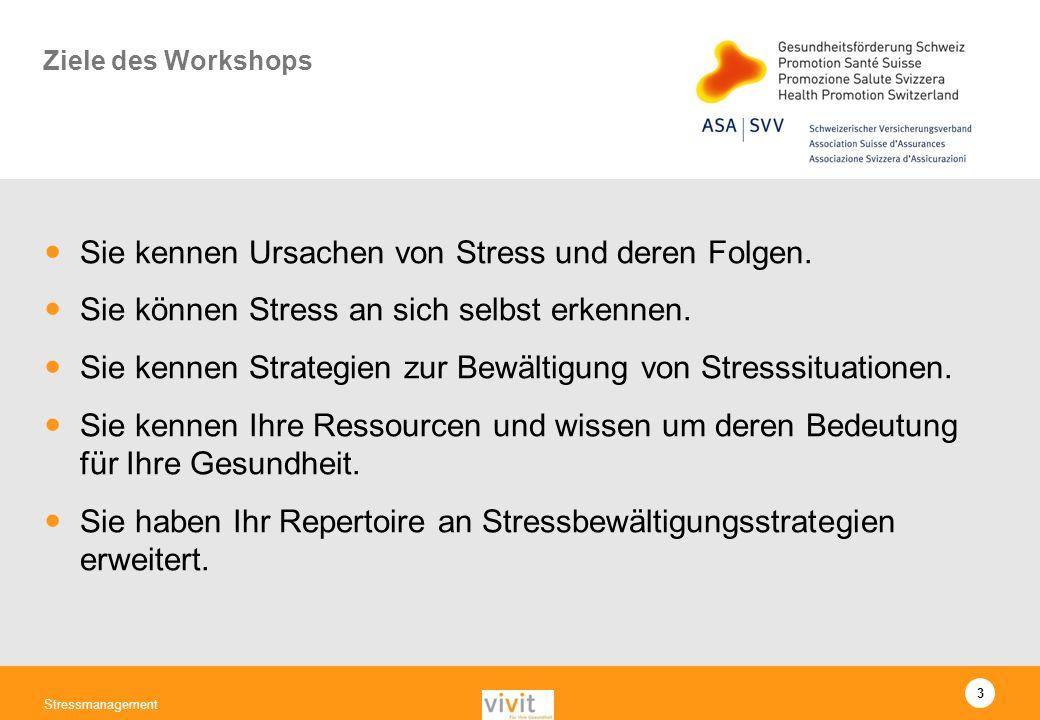 3 Stressmanagement Ziele des Workshops Sie kennen Ursachen von Stress und deren Folgen. Sie können Stress an sich selbst erkennen. Sie kennen Strategi
