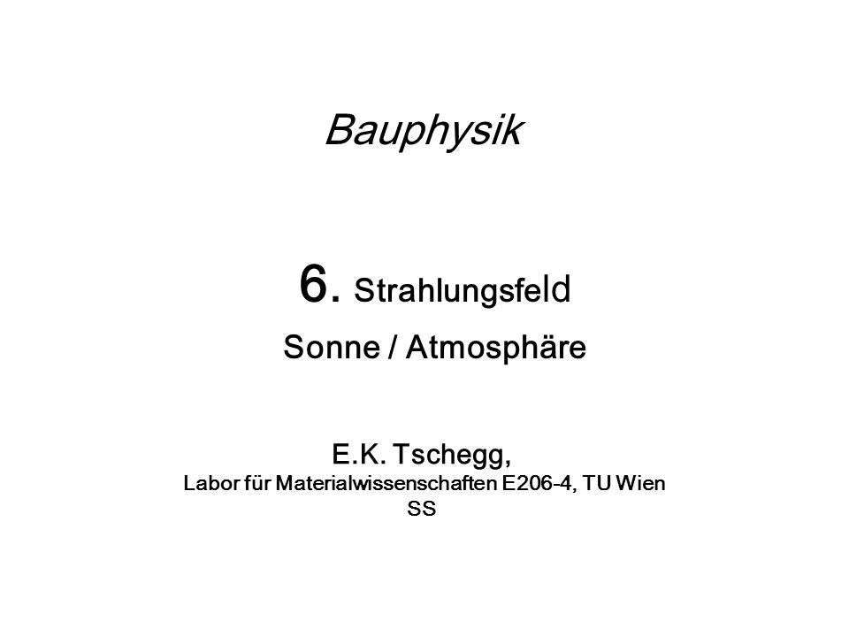 Bauphysik 6. Strahlungsfe ld Sonne / Atmosphäre E.K. Tschegg, Labor für Materialwissenschaften E206-4, TU Wien SS