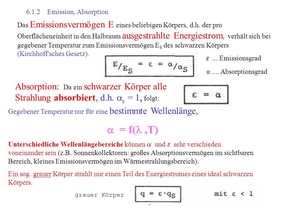 6.1.2 Emission, Absorption Das Emissionsvermögen E eines beliebigen Körpers, d.h. der pro Oberflächeneinheit in den Halbraum ausgestrahlte Energiestro