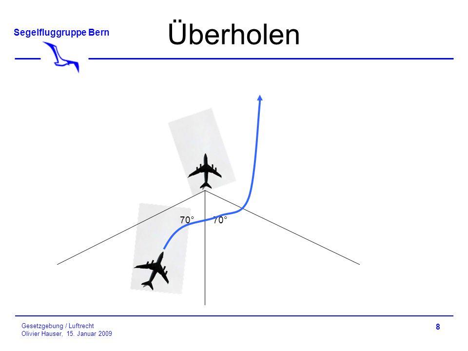 Segelfluggruppe Bern Gesetzgebung / Luftrecht Olivier Hauser, 15. Januar 2009 Überholen 8 70°