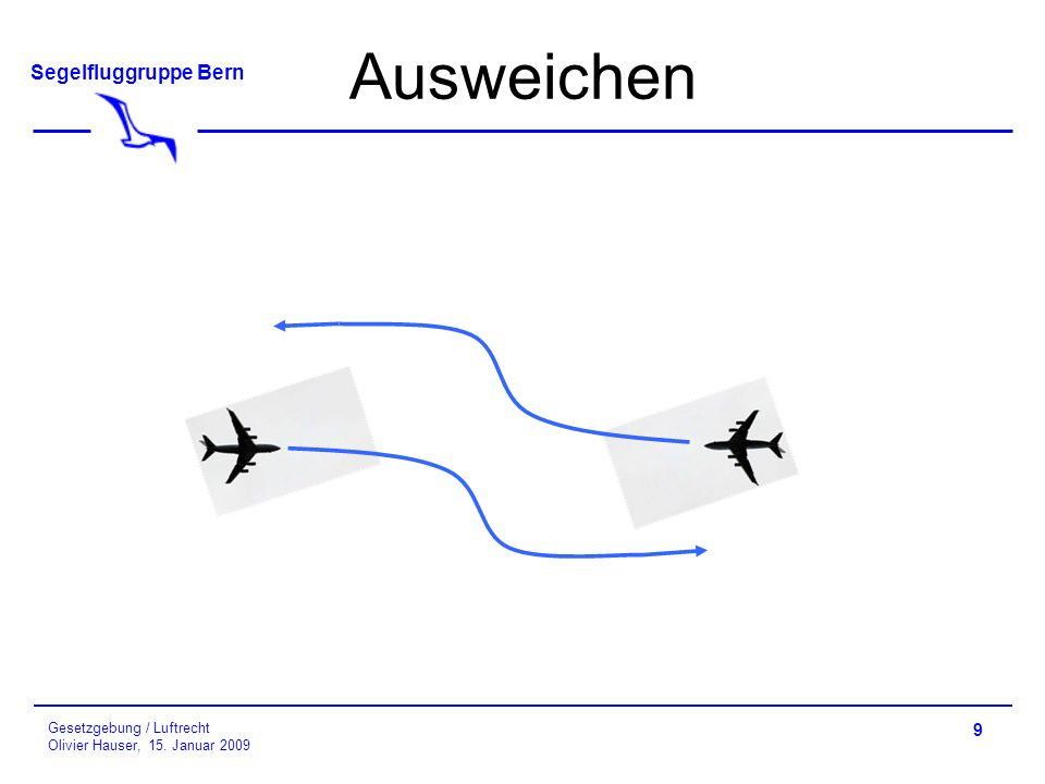 Segelfluggruppe Bern Gesetzgebung / Luftrecht Olivier Hauser, 15. Januar 2009 Ausweichen 9
