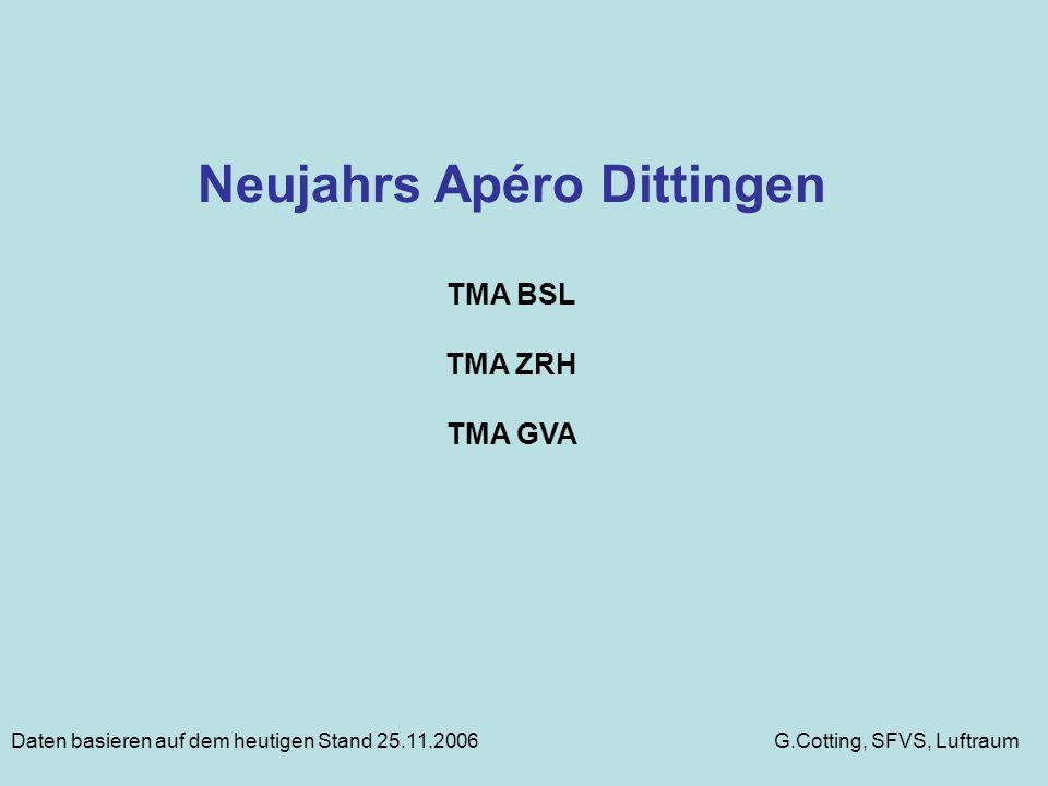 Neujahrs Apéro Dittingen TMA BSL TMA ZRH TMA GVA G.Cotting, SFVS, LuftraumDaten basieren auf dem heutigen Stand 25.11.2006