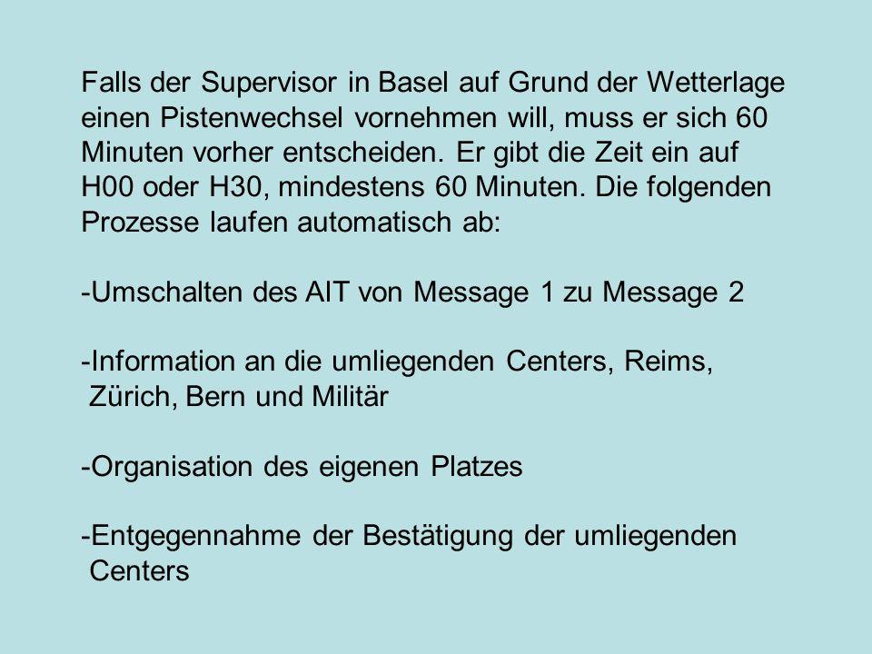 Falls der Supervisor in Basel auf Grund der Wetterlage einen Pistenwechsel vornehmen will, muss er sich 60 Minuten vorher entscheiden. Er gibt die Zei