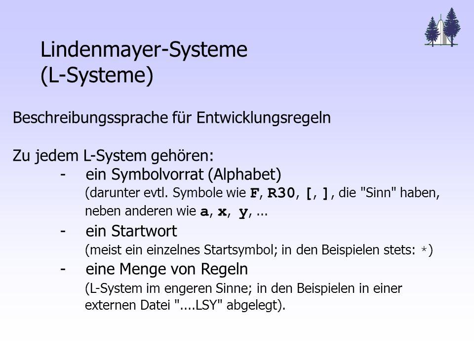 Lindenmayer-Systeme (L-Systeme) Beschreibungssprache für Entwicklungsregeln Zu jedem L-System gehören: - ein Symbolvorrat (Alphabet) (darunter evtl.