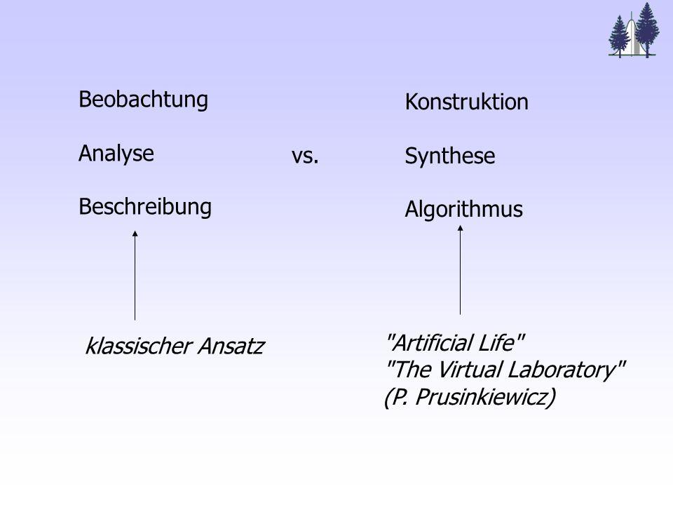 Beobachtung Analyse Beschreibung vs. Konstruktion Synthese Algorithmus klassischer Ansatz