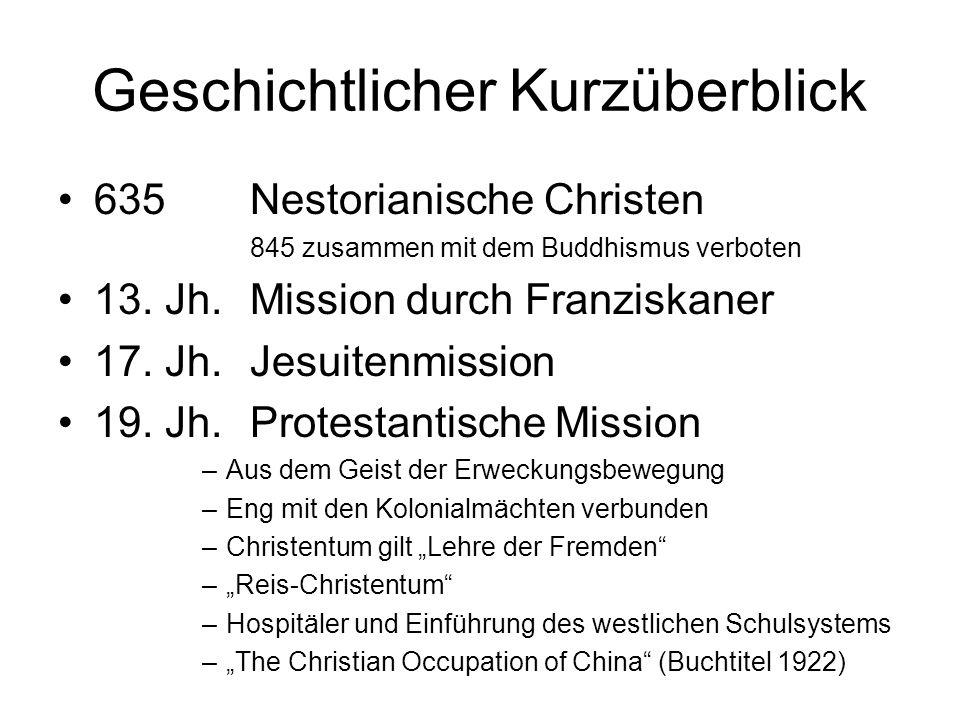 Geschichtlicher Kurzüberblick 635Nestorianische Christen 845 zusammen mit dem Buddhismus verboten 13. Jh.Mission durch Franziskaner 17. Jh.Jesuitenmis