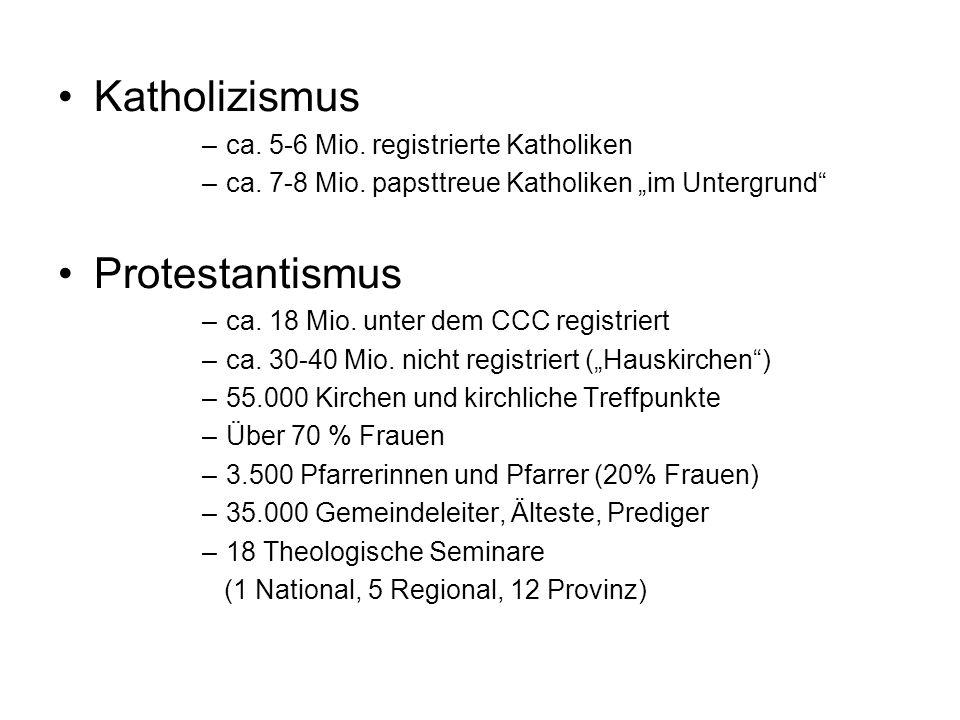Katholizismus –ca. 5-6 Mio. registrierte Katholiken –ca. 7-8 Mio. papsttreue Katholiken im Untergrund Protestantismus –ca. 18 Mio. unter dem CCC regis