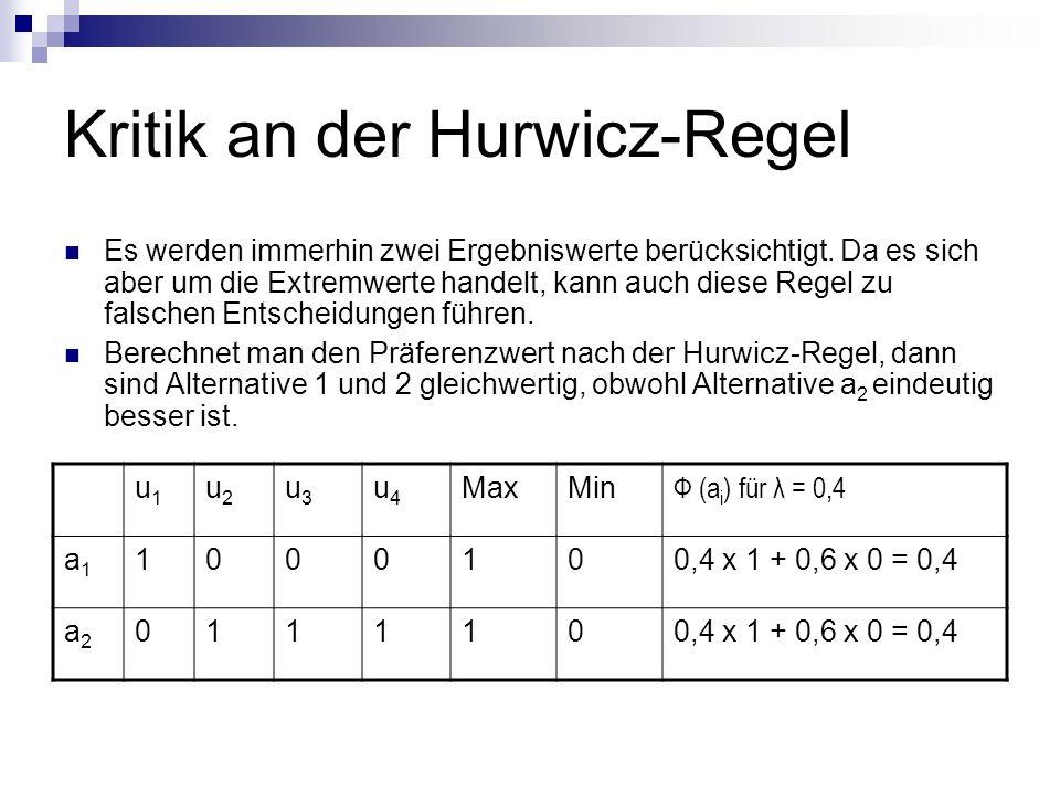 Kritik an der Hurwicz-Regel Es werden immerhin zwei Ergebniswerte berücksichtigt. Da es sich aber um die Extremwerte handelt, kann auch diese Regel zu