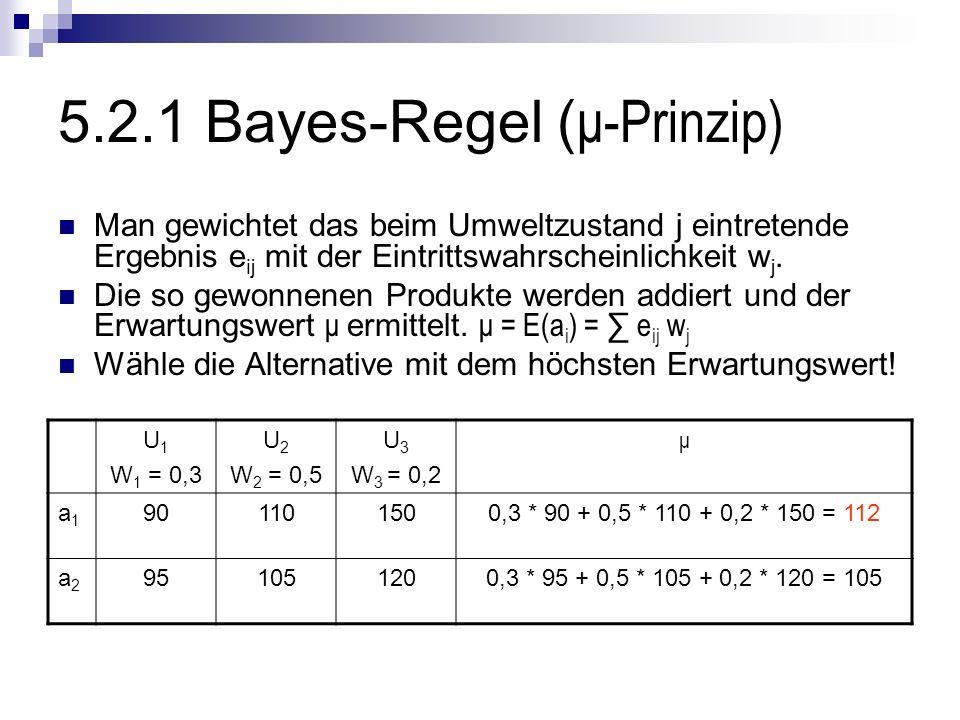 5.2.1 Bayes-Regel ( μ-Prinzip) Man gewichtet das beim Umweltzustand j eintretende Ergebnis e ij mit der Eintrittswahrscheinlichkeit w j. Die so gewonn