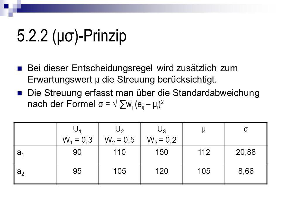 5.2.2 (μσ)-Prinzip Bei dieser Entscheidungsregel wird zusätzlich zum Erwartungswert μ die Streuung berücksichtigt. Die Streuung erfasst man über die S