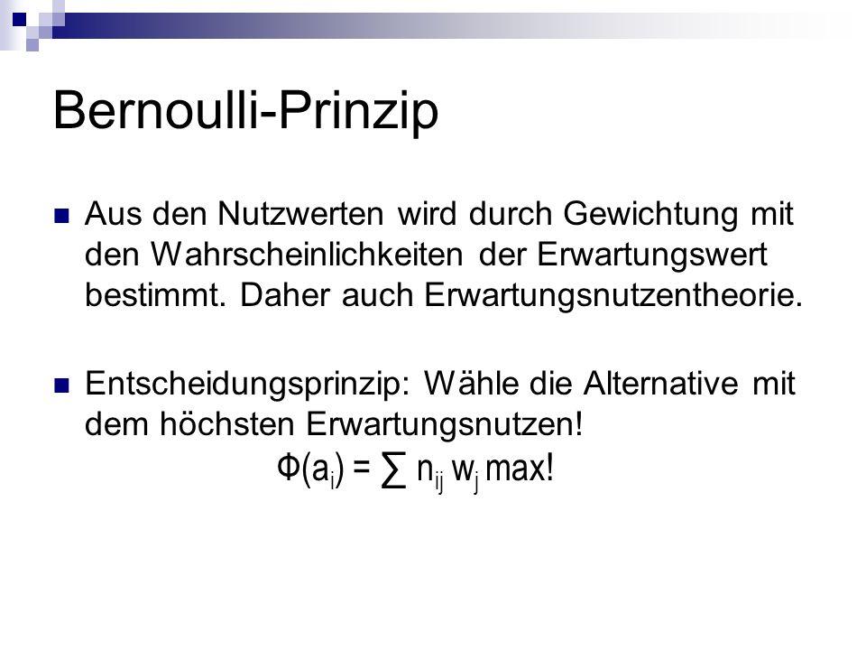 Bernoulli-Prinzip Aus den Nutzwerten wird durch Gewichtung mit den Wahrscheinlichkeiten der Erwartungswert bestimmt. Daher auch Erwartungsnutzentheori