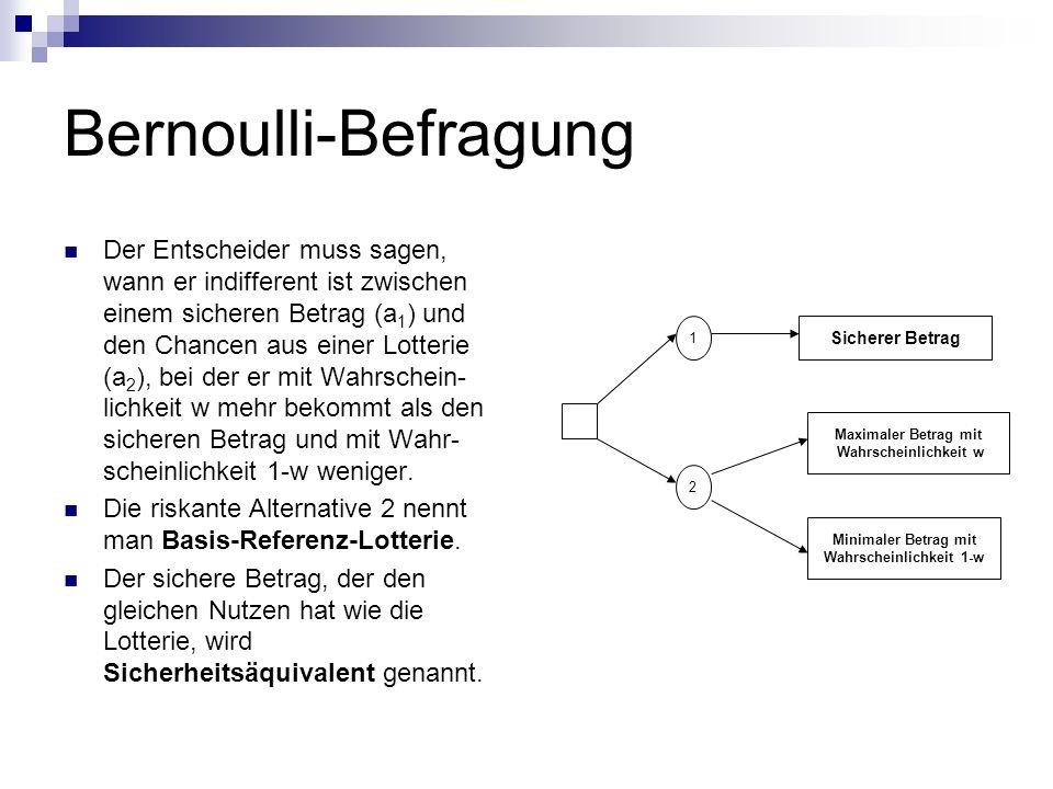 Bernoulli-Befragung Der Entscheider muss sagen, wann er indifferent ist zwischen einem sicheren Betrag (a 1 ) und den Chancen aus einer Lotterie (a 2