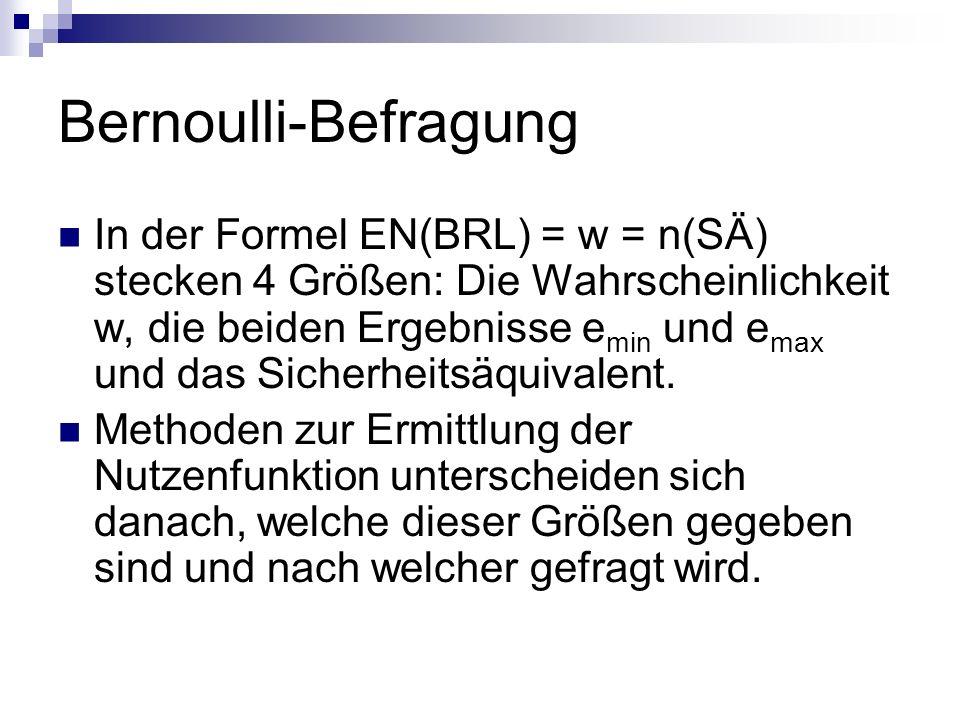 Bernoulli-Befragung In der Formel EN(BRL) = w = n(SÄ) stecken 4 Größen: Die Wahrscheinlichkeit w, die beiden Ergebnisse e min und e max und das Sicher