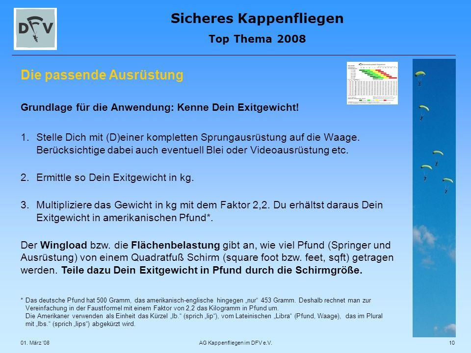 Sicheres Kappenfliegen Top Thema 2008 01. März '08AG Kappenfliegen im DFV e.V.10 Die passende Ausrüstung Grundlage für die Anwendung: Kenne Dein Exitg