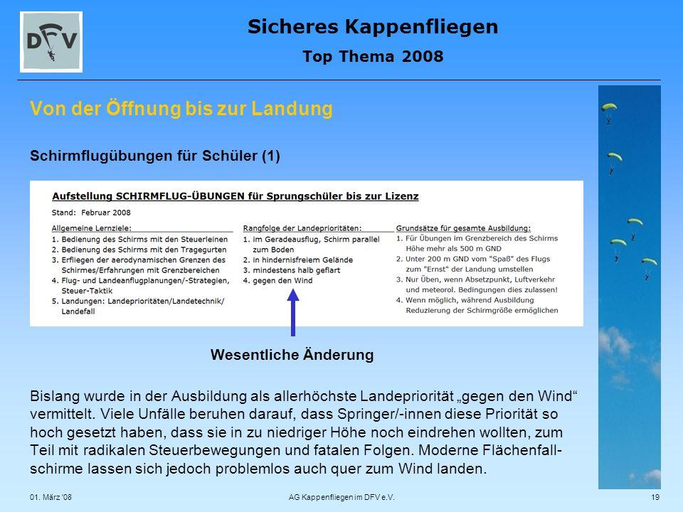 Sicheres Kappenfliegen Top Thema 2008 01. März '08AG Kappenfliegen im DFV e.V.19 Von der Öffnung bis zur Landung Schirmflugübungen für Schüler (1) Bis