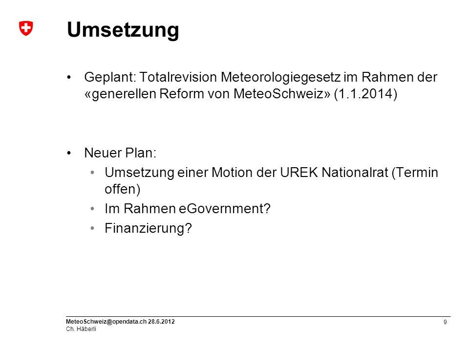 10 MeteoSchweiz@opendata.ch 28.6.2012 Ch. Häberli Vielen Dank für Ihre Aufmerksamkeit!