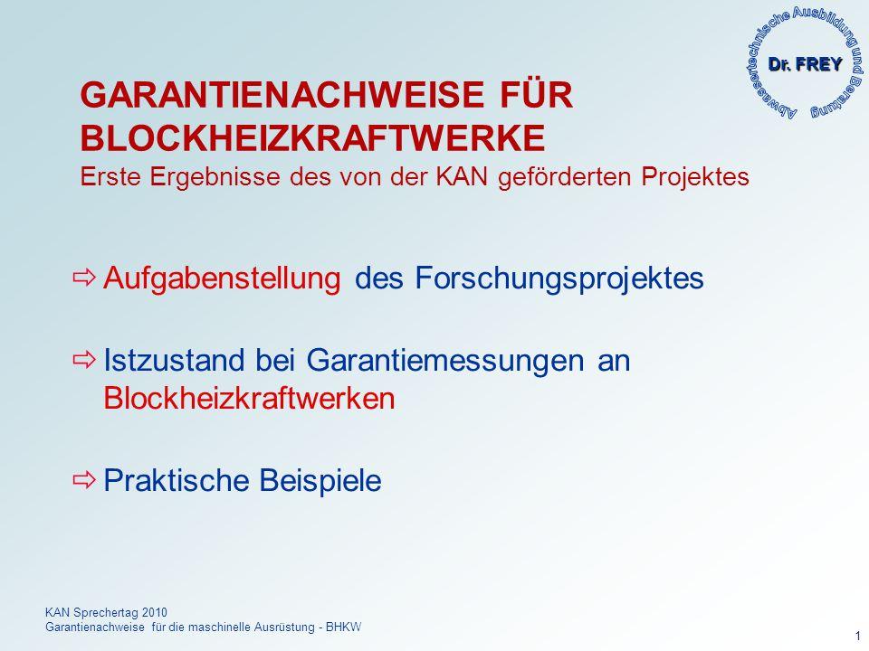 Dr. FREY KAN Sprechertag 2010 Garantienachweise für die maschinelle Ausrüstung - BHKW 1 GARANTIENACHWEISE FÜR BLOCKHEIZKRAFTWERKE Erste Ergebnisse des