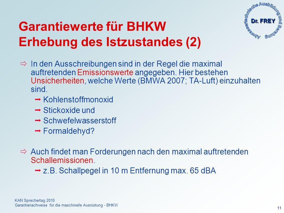 Dr. FREY KAN Sprechertag 2010 Garantienachweise für die maschinelle Ausrüstung - BHKW 11 Garantiewerte für BHKW Erhebung des Istzustandes (2) In den A
