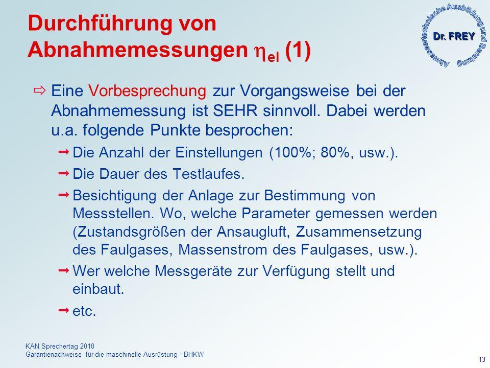 Dr. FREY KAN Sprechertag 2010 Garantienachweise für die maschinelle Ausrüstung - BHKW 13 Durchführung von Abnahmemessungen el (1) Eine Vorbesprechung